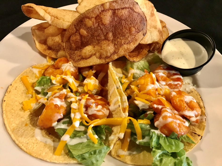 Buffalo Shrimp Tacos Served with Lettuce, Cheddar Cheese and Ranch Dressing