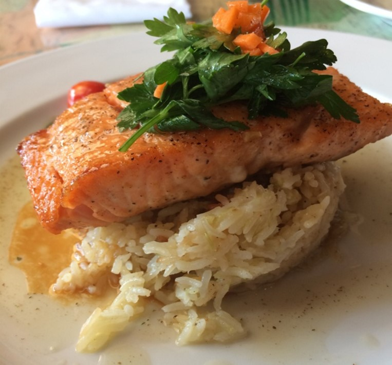 Citrus Glazed Salmon, served with Rice Pilaf with  Choice of Vegetable